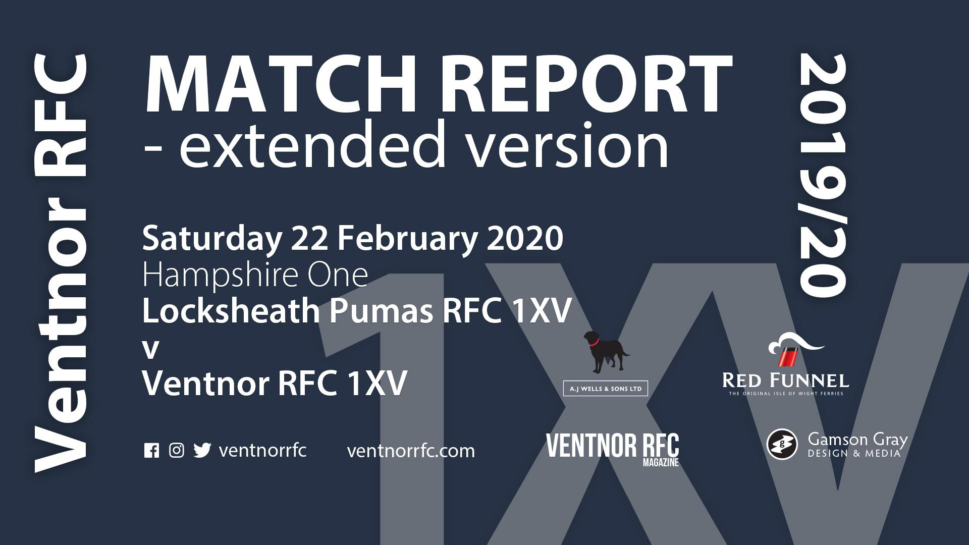 Locksheath Pumas RFC 1XV 22-14 Ventnor RFC 1XV, 22 February 2020 – extended match report